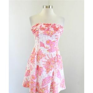 Lilly Pulitzer conched out ruffled strapless dress